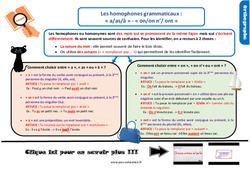Leçon, trace écrite sur les homophones grammaticaux : « a/as/à » - « on/on n'/ ont » au CM2