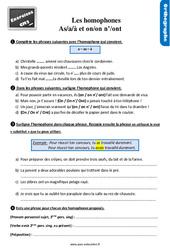 Exercices, révisions avec les corrections sur les homophones grammaticaux : « a/as/à » - « on/on n'/ ont » au CM2