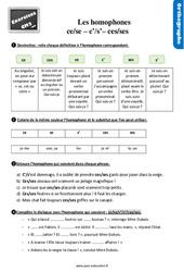 Exercices, révisions avec les corrections sur les homophones grammaticaux : « ce » / « se », « c' » / « s' » et « ces » / « ses » au CM2