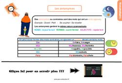 Leçon, trace écrite sur les antonymes - Cm1