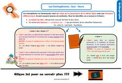 Leçon, trace écrite sur les homophones : leur - leurs au CM2