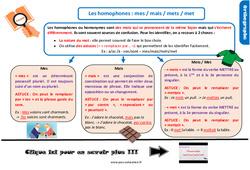 Leçon, trace écrite sur les homophones grammaticaux : mes / mais / mets / met au CM2