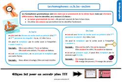 Leçon, trace écrite sur les homophones : a /à /as - on/ont au Cm1