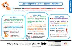 Leçon, trace écrite sur les homophones : ce /se - ces/ses - mais/mes au Cm1