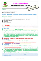 Les différents sens d'un mot – Ce1 – Étude de la langue – Fiche de préparation