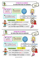 Le sens d'un mot en contexte – Ce2 – Étude de la langue – Leçon