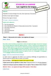 Les registres de langue – Ce2 – Étude de la langue – Fiche de préparation