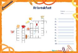 At breakfast - CM1 - CM2 - Mots fléchés - Lexique / vocabulaire - Crosswords