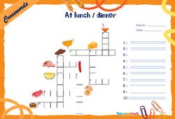 At lunch / dinner - CM1 - CM2 - Mots fléchés - Lexique / vocabulaire - Crosswords