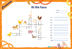 At the farm - CM1 - CM2 - Mots fléchés - Lexique / vocabulaire - Crosswords