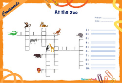 At the zoo - CM1 - CM2 - Mots fléchés - Lexique / vocabulaire - Crosswords