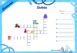 Clothes - CE1 - CE2 - Mots fléchés - Lexique / vocabulaire - Crosswords