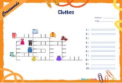 Clothes - CM1 - CM2 - Mots fléchés - Lexique / vocabulaire - Crosswords