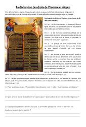 Déclaration des droits de l'homme – Exercices – Les Temps Modernes – Cm1 – Cm2 – Cycle 3