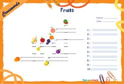 Fruits - CM1 - CM2 - Mots fléchés - Lexique / vocabulaire - Crosswords