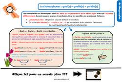 Leçon, trace écrite sur les homophones grammaticaux quel(s)/quelle(s)/qu'elle(s) au CM2
