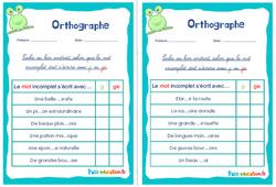 Écrire g, ge ou gu - Ce1 - Ce2 - Rituels - Orthographe