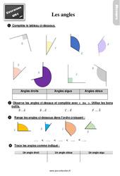Exercices, révisions sur les angles au Cm1 avec les corrections