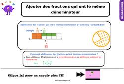 Ajouter des fractions qui ont le même dénominateur - Leçon pour le Cm1