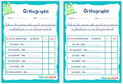 Pluriel des noms en aux ou ails - Ce1 - Ce2 - Rituels - Orthographe