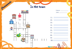 In the town - CM1 - CM2 - Mots fléchés - Lexique / vocabulaire - Crosswords