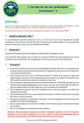 Qu'est-ce qu'une évaluation formative? – CRPE2022