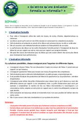 Qu'est-ce qu'une évaluation formelle ou informelle? – CRPE2022