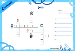 Jobs - CE1 - CE2 - Mots fléchés - Lexique / vocabulaire - Crosswords