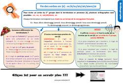 Leçon, trace écrite sur la fin des verbes en [é] : er/é/ez/ais/ait/aient/ai au CM2