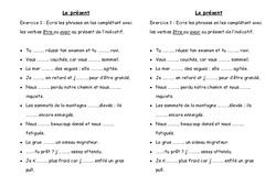 Présent - Exercices - Ce2 - Conjugaison - Cycle 3