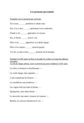 Pronoms personnels  – Exercices à imprimer