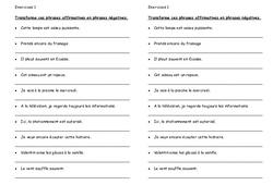 Phrase négative – Ce2 – Exercices à imprimer