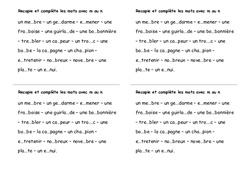 Mots avec m ou n - Ce2 - Exercices - Orthographe