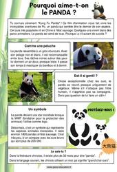 Pourquoi aime-t-on les Panda? - Ce1 - Ce2 - CM1 - Lecture documentaire
