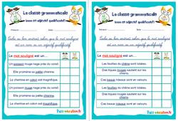 Un nom et un adjectif qualificatif - Ce1 - Ce2 - Rituels - La classe grammaticale