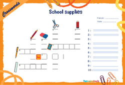 School supplies - CM1 - CM2 - Mots fléchés - Lexique / vocabulaire - Crosswords