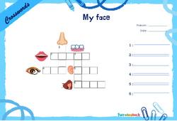 My face - CE1 - CE2 - Mots fléchés - Lexique / vocabulaire - Crosswords