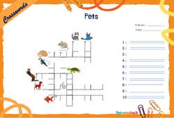 Pets - CM1 - CM2 - Mots fléchés - Lexique / vocabulaire - Crosswords