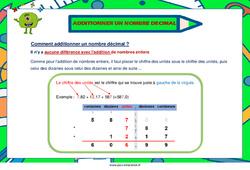Additionner un nombre décimal - Cm1 - Cm2 - Affiche