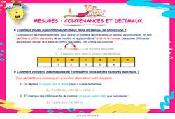 Mesures : contenances et décimaux - Cycle 3 - Affiche de classe