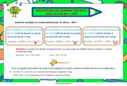 Multiplier un nombre décimal par 10, 100 et 1000 - Cycle 3 - Affiche