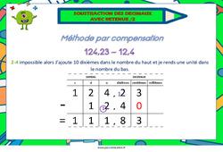 Soustraction des décimaux avec retenue (la suite) - Cycle 2- Cycle 3 - Affiche