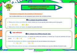 Comparer et ranger les nombres décimaux - Cycle 3 - Affiche de classe