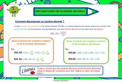 Décomposer un nombre décimal - Cycle 3 - Affiche de classe