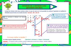Division de 2 entiers avec quotient décimal - Cycle 3 - Affiche de classe