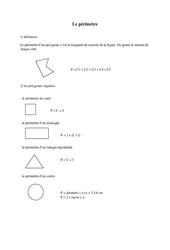 Périmètre – Cm2 – Exercices – Mesures – Cycle 3