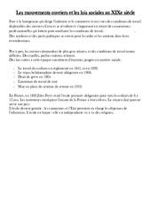 Mouvements ouvriers et les lois sociales au XIXe siècle – La révolution industrielle – Leçon – Cm2-  Cycle3