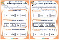 Les pronoms personnels sujets - Ce1 - Ce2 - Rituels - La classe grammaticale