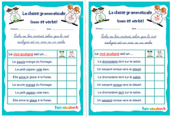 Nom et verbe - Ce1 - Ce2 - Rituels - La classe grammaticale