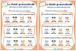 Déterminant, nom, adjectif qualificatif et verbe - Ce1 - Ce2 - Rituels - La classe grammaticale